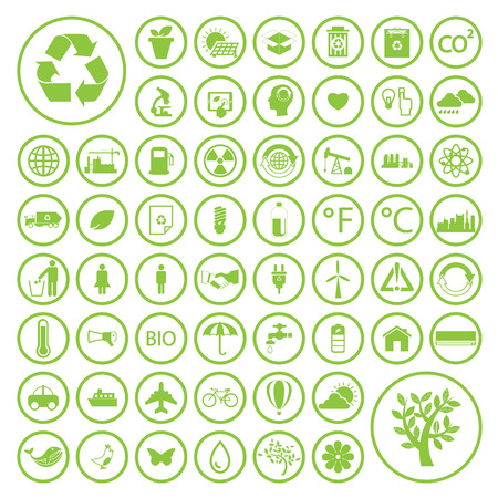 renewable energy: Ecology and recycle icons Illustration