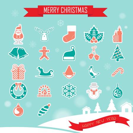 christmas gift box: Christmas Icons Collection set Illustration