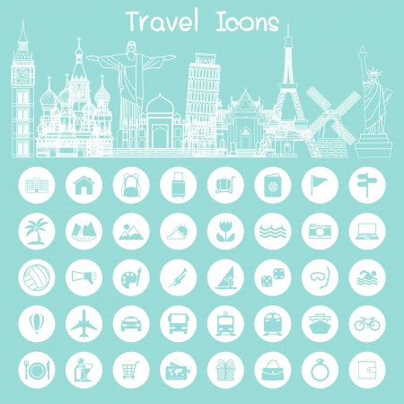travel landmark icons Illustration