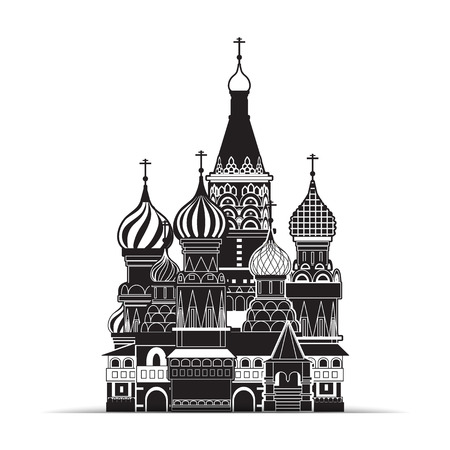 moscow churches: Saint Basil cathedral , Moscow, vector symbol