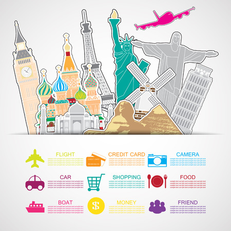 travel background and icon Vector