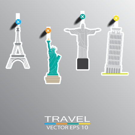 travel landmark background and icon Vector