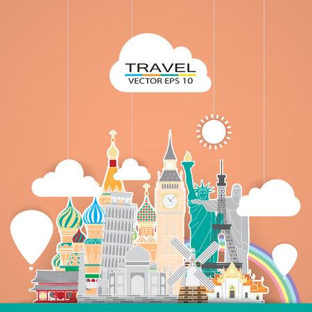 famous: 旅遊地標背景