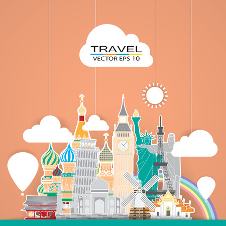 travel landmark background Vector