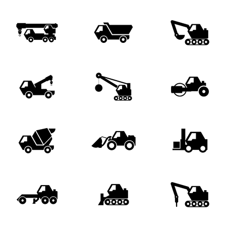Construction vehicles icon set Vector