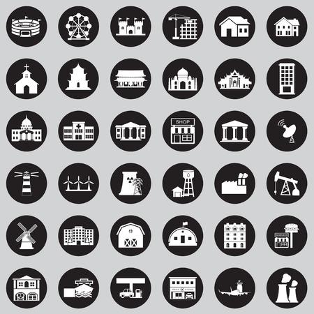 Buildings city icon set Illustration