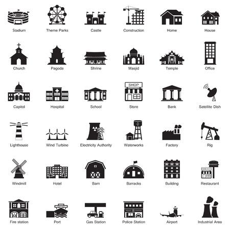mimari ve binalar: Binalar şehir simge seti Çizim