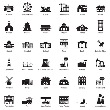 building fire: Buildings city icon set Illustration