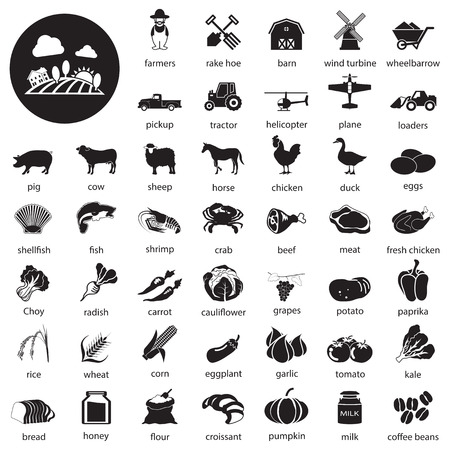 food drink industry: farm icons Set Illustration