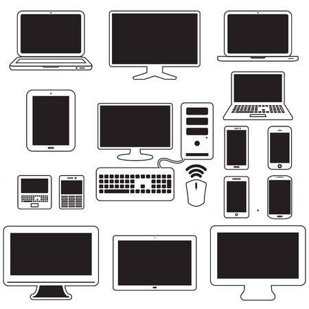 laptop, tablet computer, monitor and mobile screen Vector