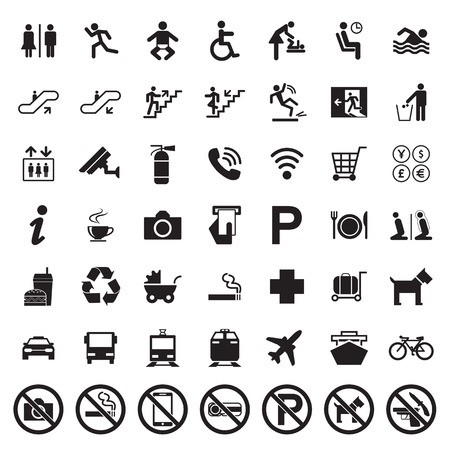 emergency cart: Public signs vector set Illustration
