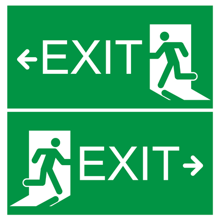 green exit emergency sign: emergency exit sign  Illustration