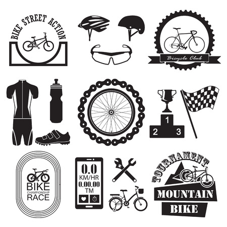 bike parts: Bicycle Banner and icons set Illustration