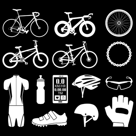 helmet: Bicycle icons set