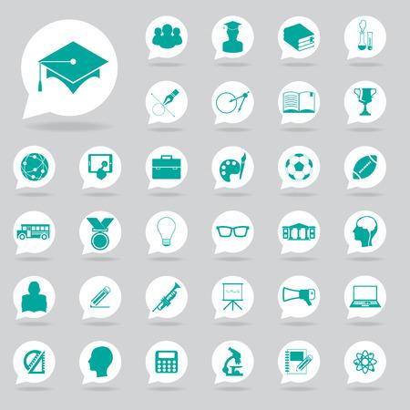 university text: Education icons set