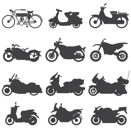 transportation silhouette: Motorcycle Icons set  Vector Illustration  Illustration