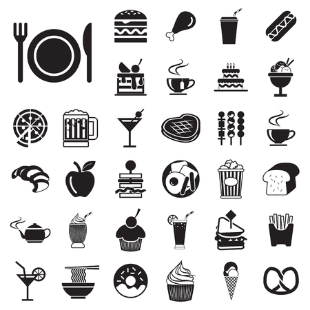 vector menu  food and drink icons set  Vector