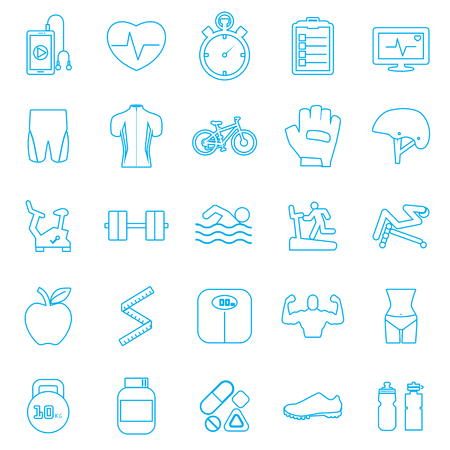 sit ups:  Fitness Icons set
