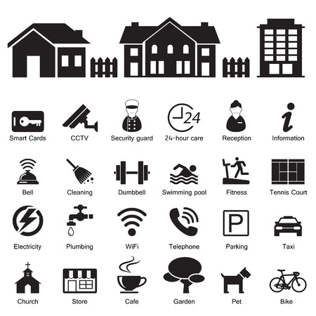 village hotel and home Services and Facilities Icon Vector