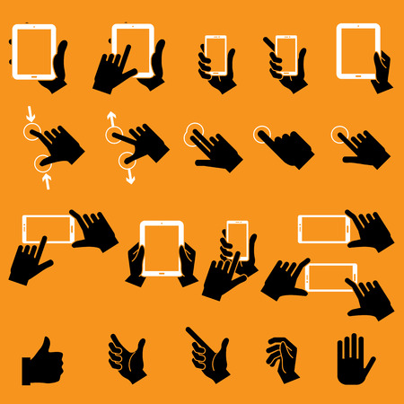 Hand Touching Mobile Phone and Digital Tablet Vector