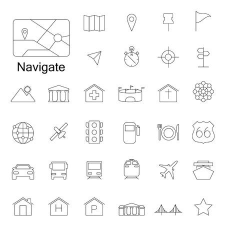 Navigation line  icons Vector