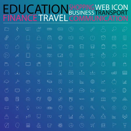 Setof web icons for business, finance, communication,transportation, education and transportation Vector