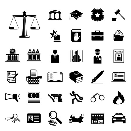 Law and police icon set Vector
