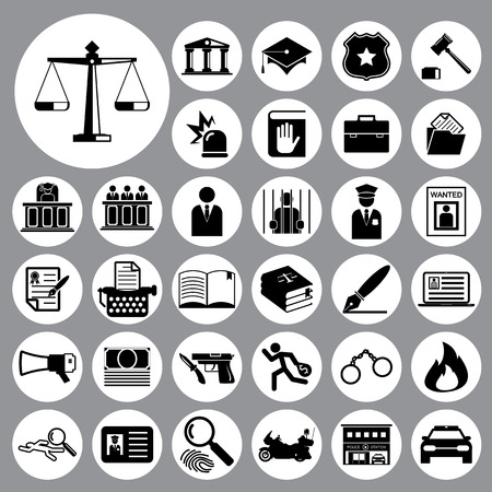 police icon: Law and police icon set