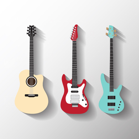 Vektorové kytary set Ilustrace