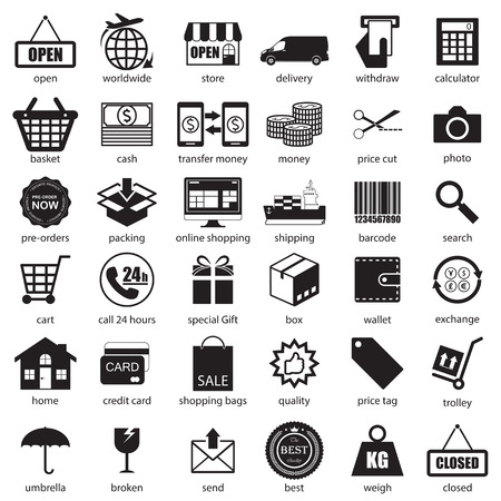 Shopping and logistic icons  set, vector  Vector