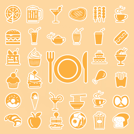 menu food and drink icons set Stock Vector - 29389413