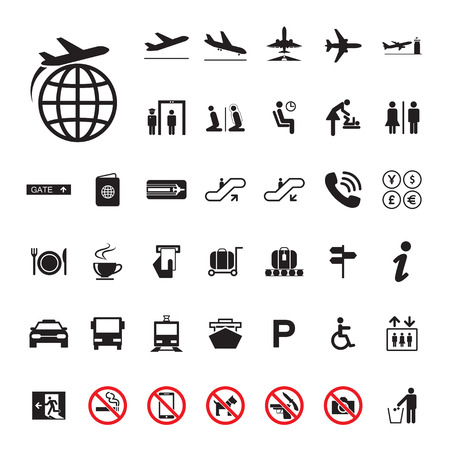 Icon Airport set Vector