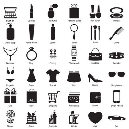 Fashion and women accessories, icons Vector