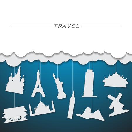travel landmark background Vector