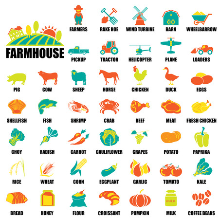 rice and beans: farm icons Set Illustration
