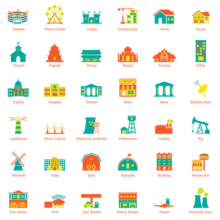 house fire: Buildings city icon set Illustration