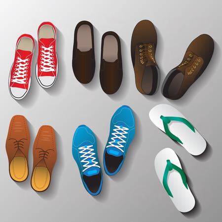tienda de zapatos: zapatos establecen Vectores