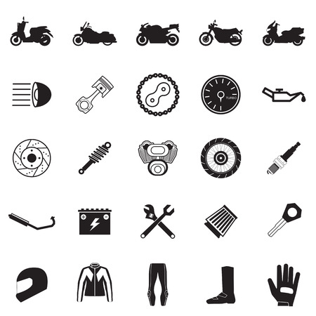 Motorfiets deel en punt set Stockfoto - 30144929