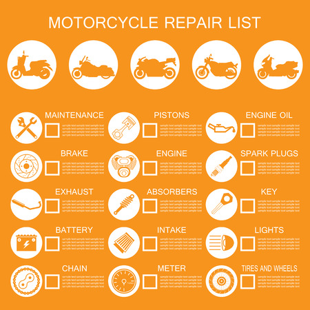 motorcycle part information Vector