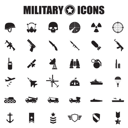 atomic bomb: Military icons set