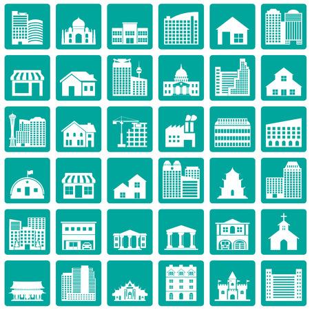 gebouw icons set
