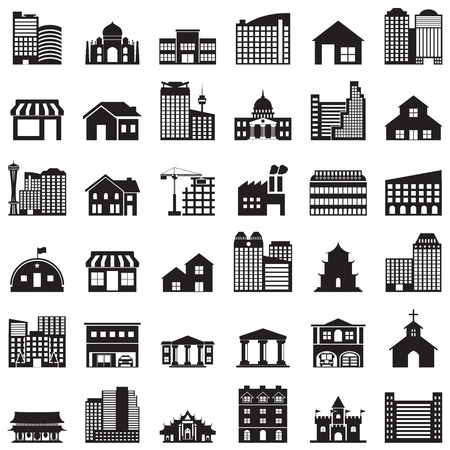 warehouse: building icons set Illustration