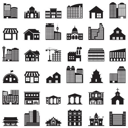 barracks: building icons set Illustration