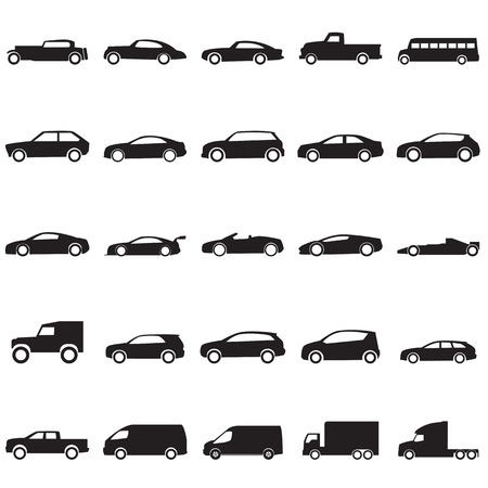 pickup truck: Cars icons set  Illustration