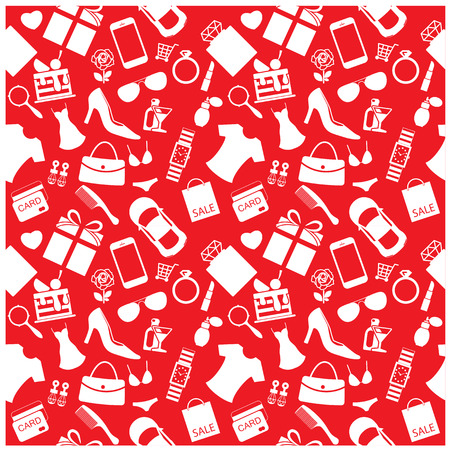 Fashion and women accessories background, pattern Illustration