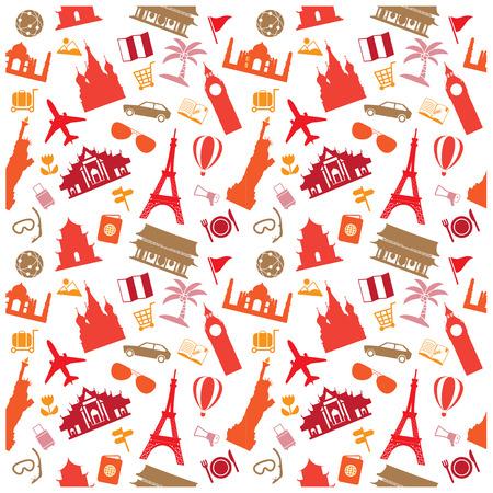 travel background, pattern Vector