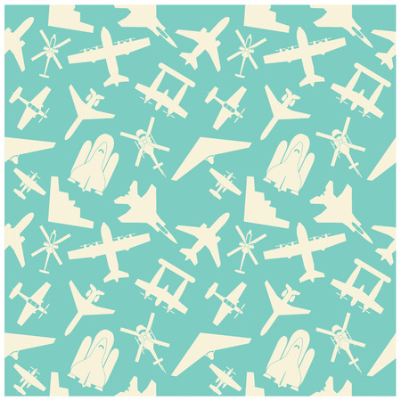 airplane  icons and  background, pattern Vector