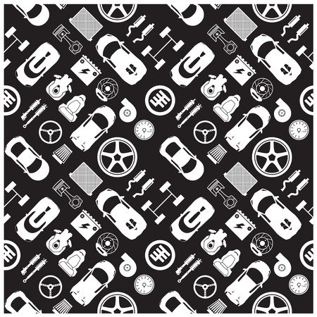 auto parts: car part icons and Background