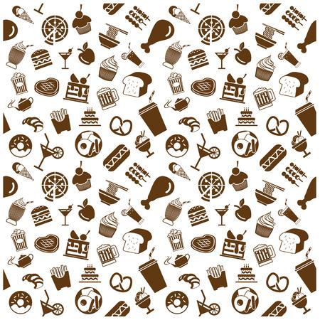 food and drink icons and Background Illusztráció