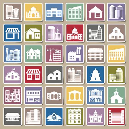 headquarter: building icons set Sticker